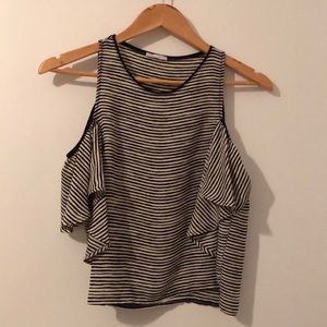 Zara striped blouse with off the shoulder sleeve